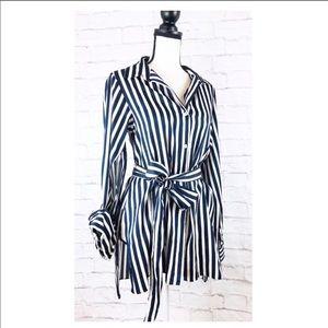 Zara Navy and White Striped Tie Waist Button Top